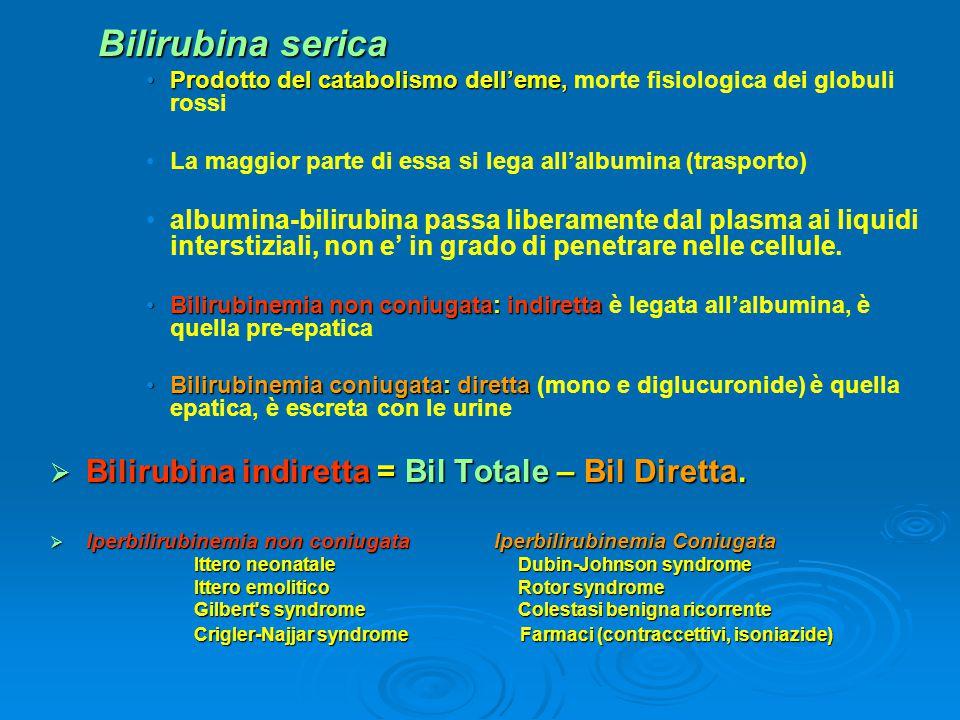 Bilirubina serica Bilirubina indiretta = Bil Totale – Bil Diretta.