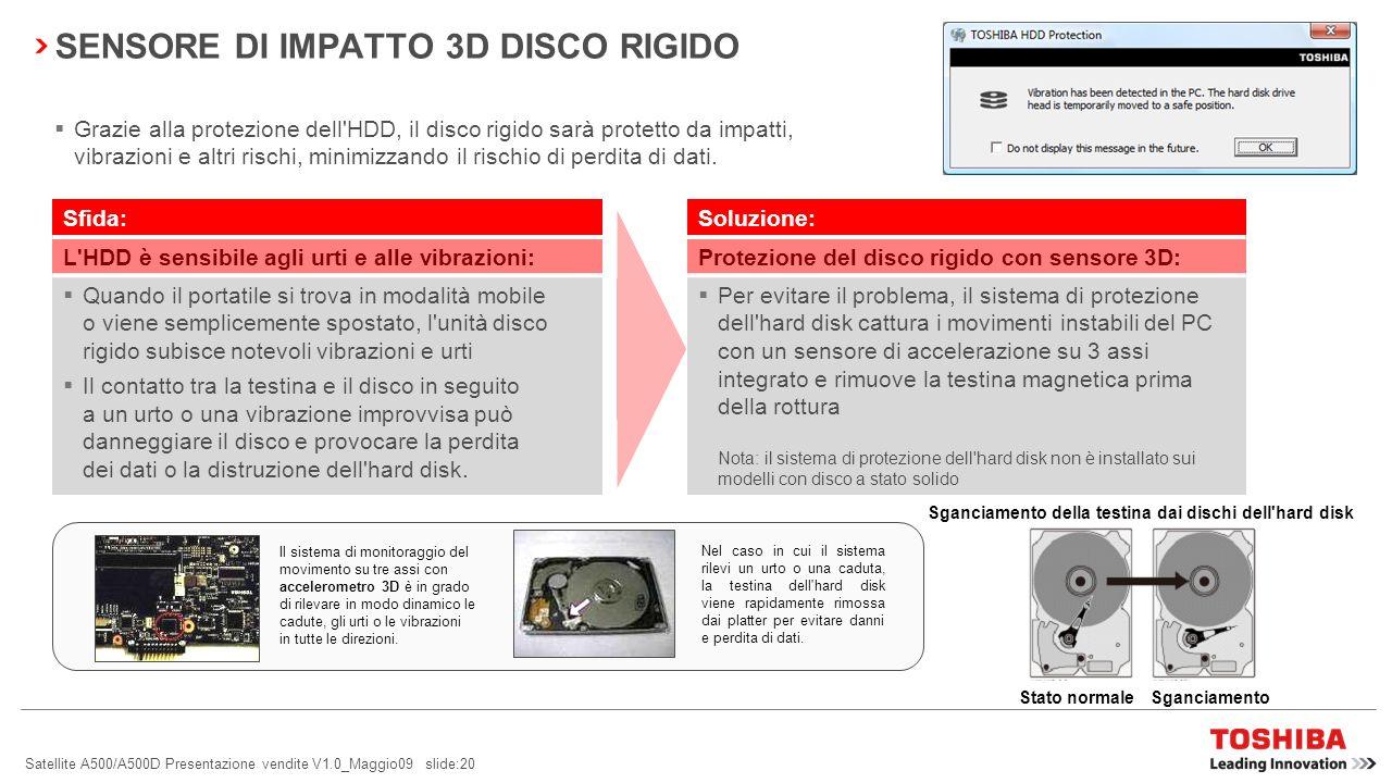 SENSORE DI IMPATTO 3D DISCO RIGIDO
