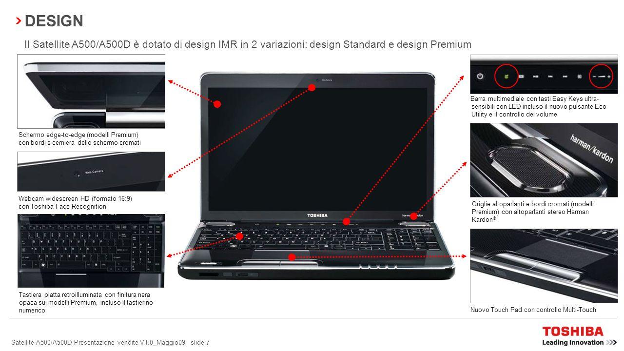 DESIGN Il Satellite A500/A500D è dotato di design IMR in 2 variazioni: design Standard e design Premium.