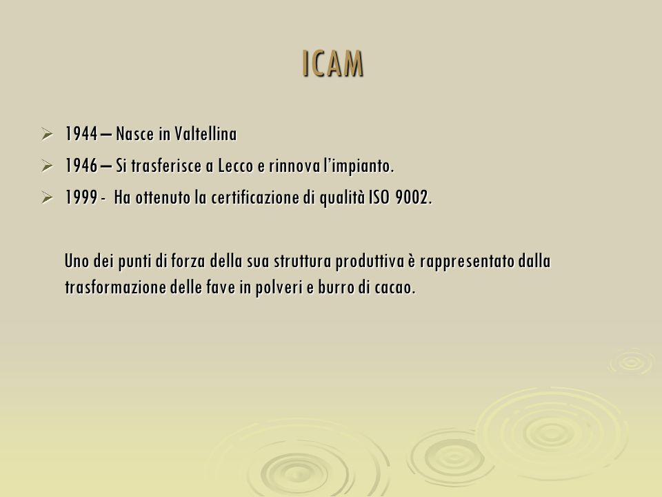 ICAM 1944 – Nasce in Valtellina