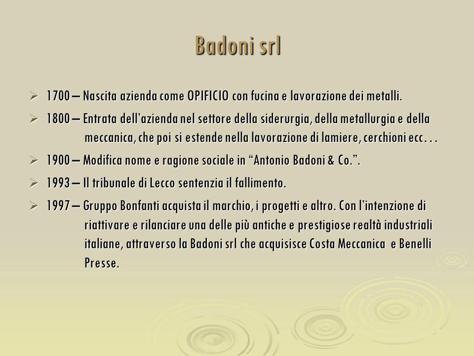 Badoni srl 1700 – Nascita azienda come OPIFICIO con fucina e lavorazione dei metalli.