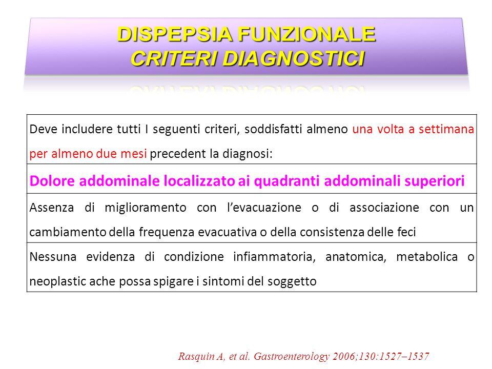 DISPEPSIA FUNZIONALE CRITERI DIAGNOSTICI