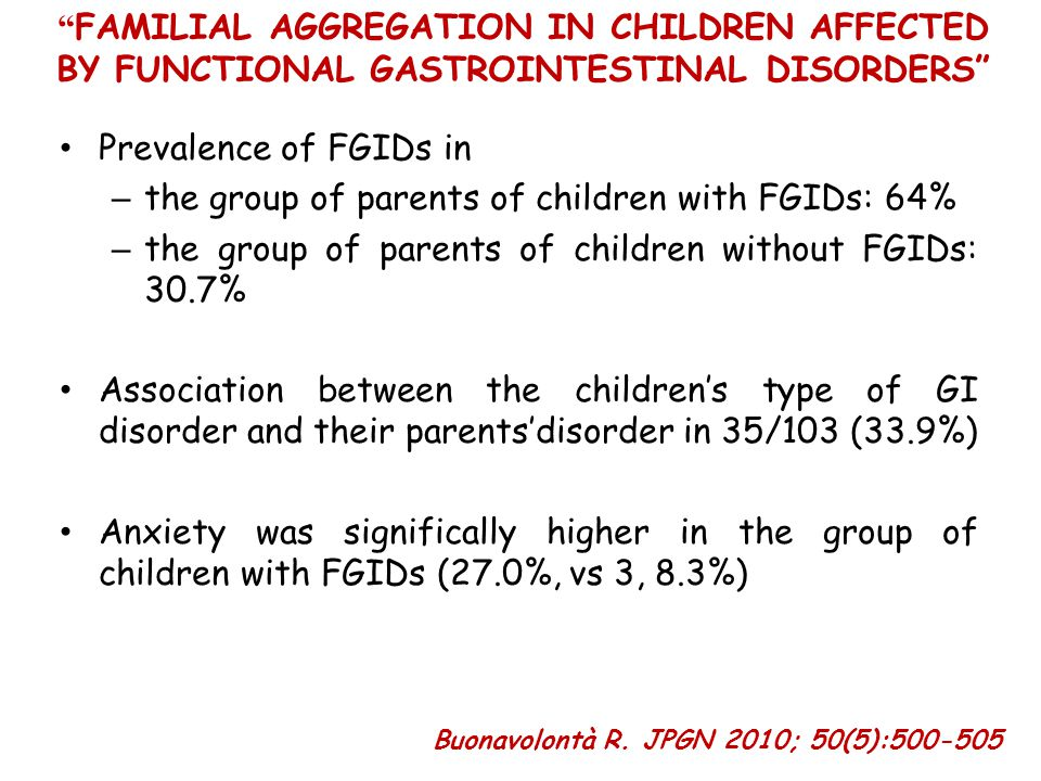 the group of parents of children with FGIDs: 64%