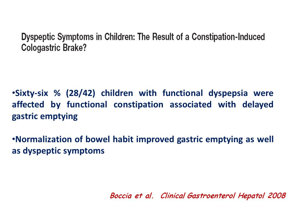 Sixty-six % (28/42) children with functional dyspepsia were affected by functional constipation associated with delayed gastric emptying