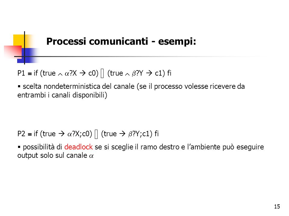 Processi comunicanti - esempi: