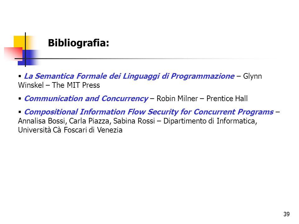 Bibliografia: La Semantica Formale dei Linguaggi di Programmazione – Glynn Winskel – The MIT Press.