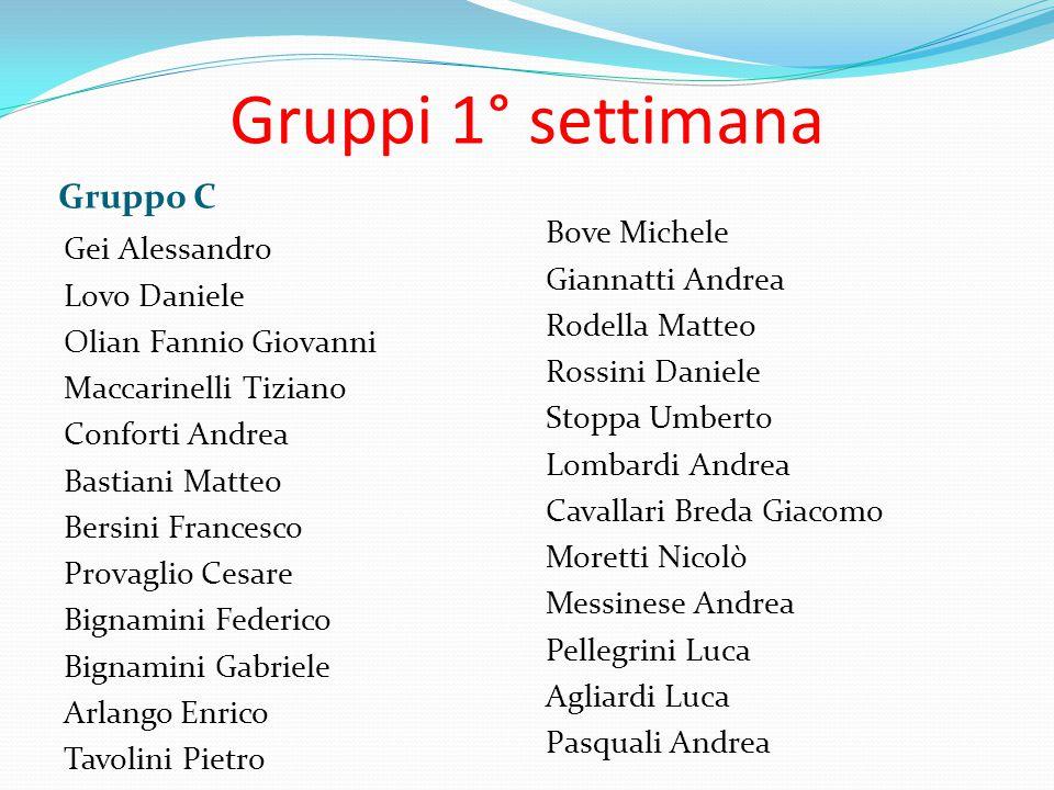 Gruppi 1° settimana Gruppo C