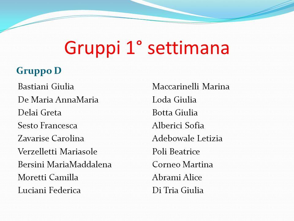 Gruppi 1° settimana Gruppo D