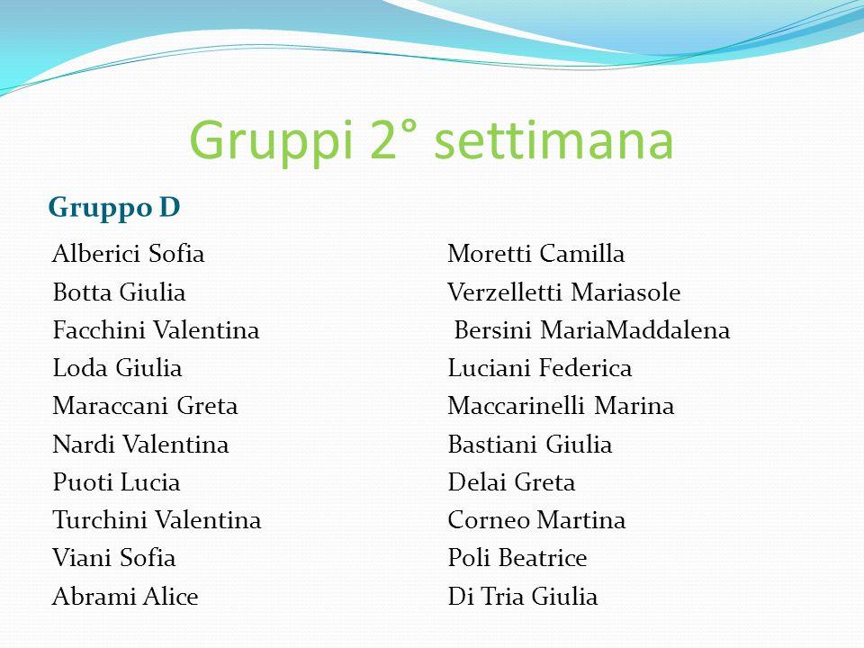 Gruppi 2° settimana Gruppo D