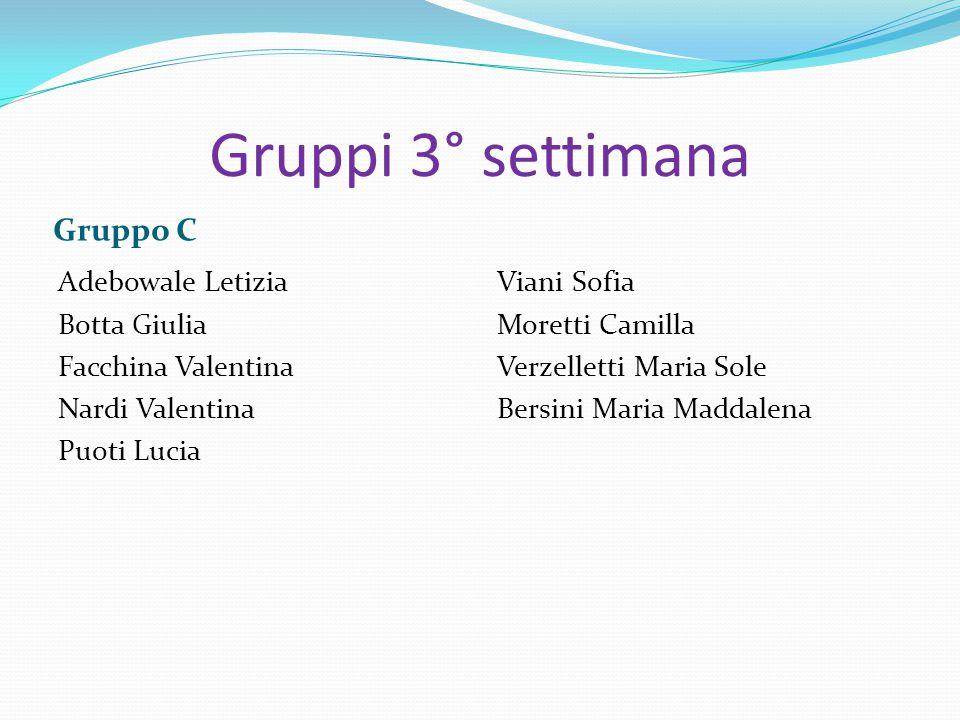 Gruppi 3° settimana Gruppo C