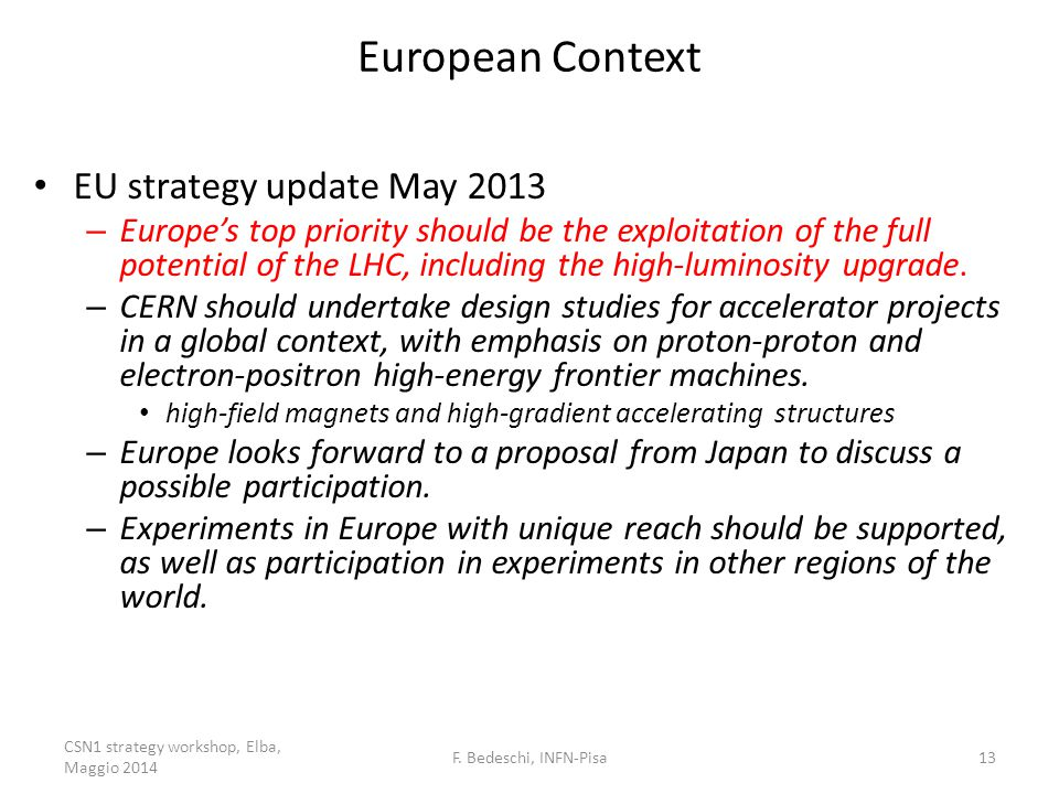 European Context EU strategy update May 2013