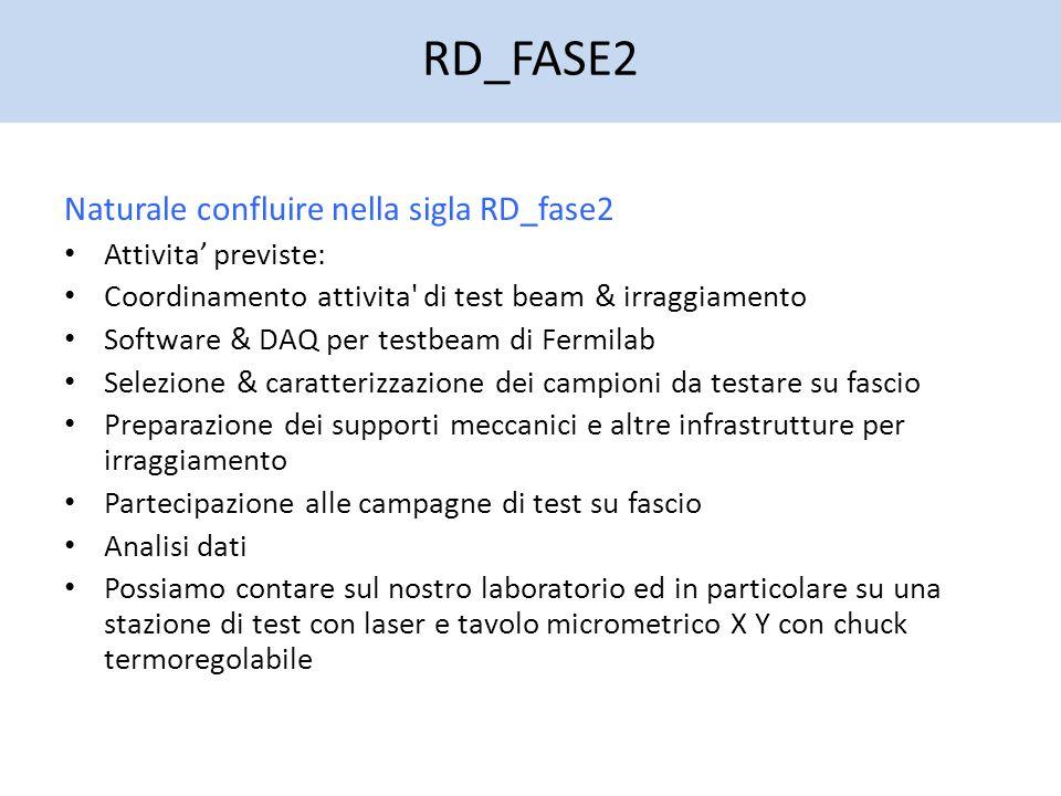 RD_FASE2 Naturale confluire nella sigla RD_fase2 Attivita' previste: