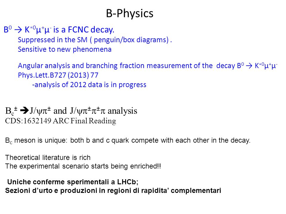 B-Physics B0 → K∗0μ+μ- is a FCNC decay.