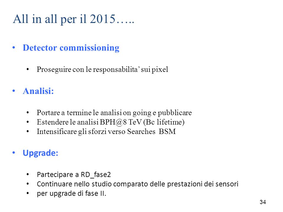 All in all per il 2015….. Detector commissioning Analisi: Upgrade: