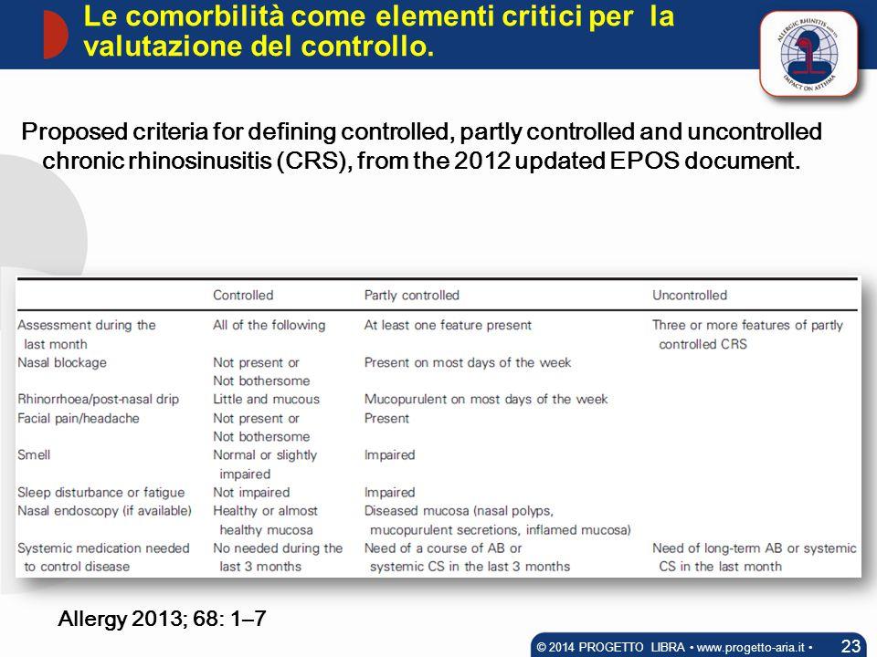 Le comorbilità come elementi critici per la valutazione del controllo.