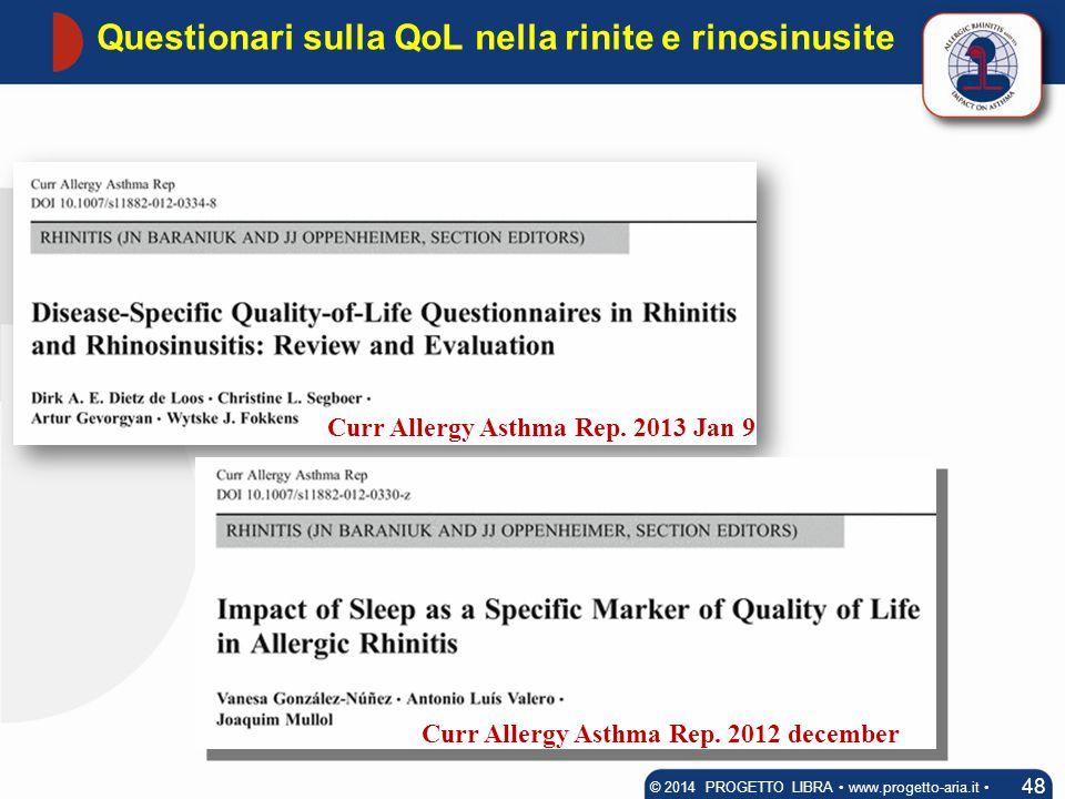 Questionari sulla QoL nella rinite e rinosinusite