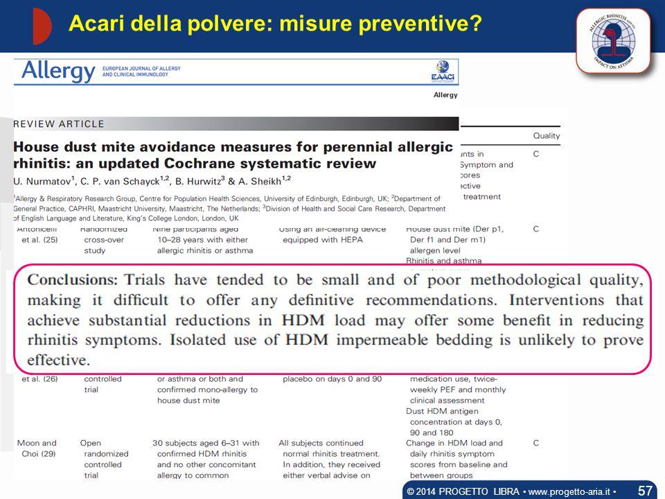Acari della polvere: misure preventive