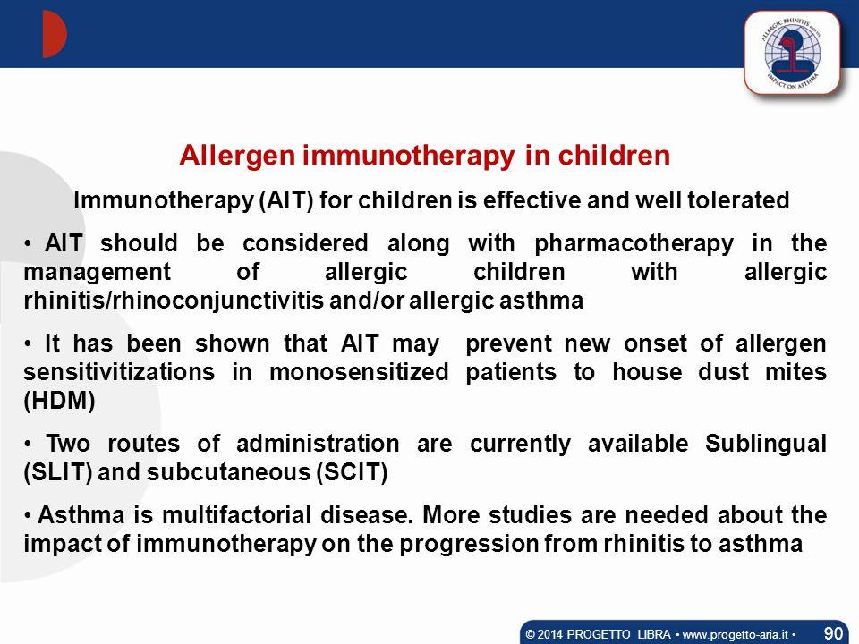 Allergen immunotherapy in children