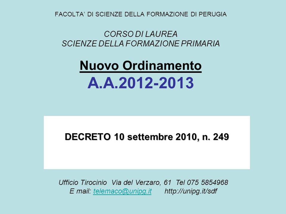 FACOLTA' DI SCIENZE DELLA FORMAZIONE DI PERUGIA CORSO DI LAUREA SCIENZE DELLA FORMAZIONE PRIMARIA Nuovo Ordinamento A.A.2012-2013