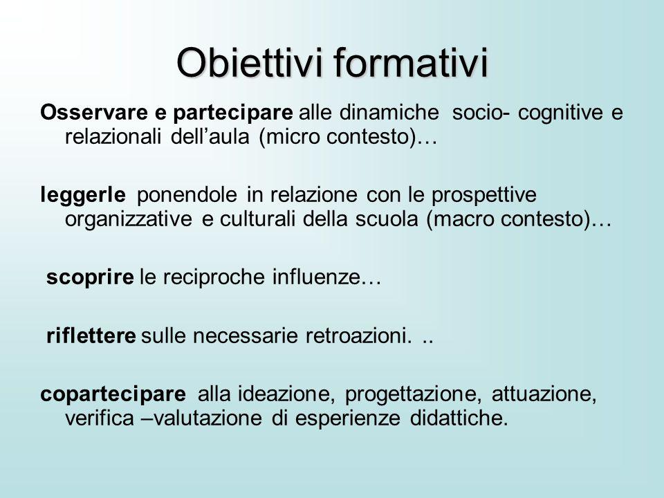 Obiettivi formativi Osservare e partecipare alle dinamiche socio- cognitive e relazionali dell'aula (micro contesto)…