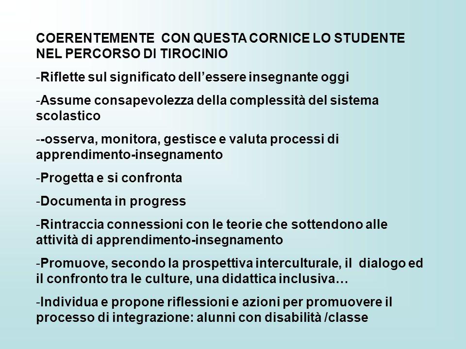 COERENTEMENTE CON QUESTA CORNICE LO STUDENTE NEL PERCORSO DI TIROCINIO
