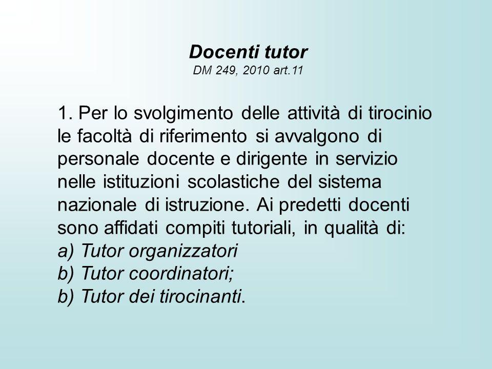 a) Tutor organizzatori b) Tutor coordinatori;
