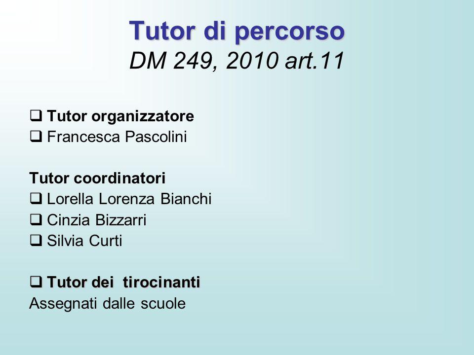 Tutor di percorso DM 249, 2010 art.11