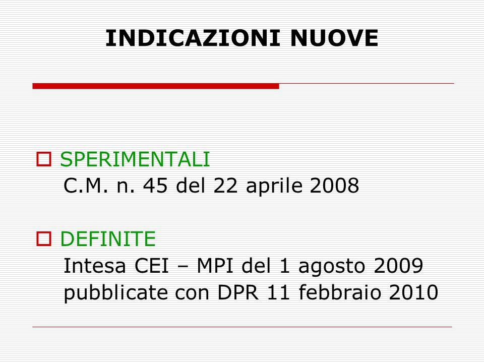 INDICAZIONI NUOVE SPERIMENTALI C.M. n. 45 del 22 aprile 2008 DEFINITE