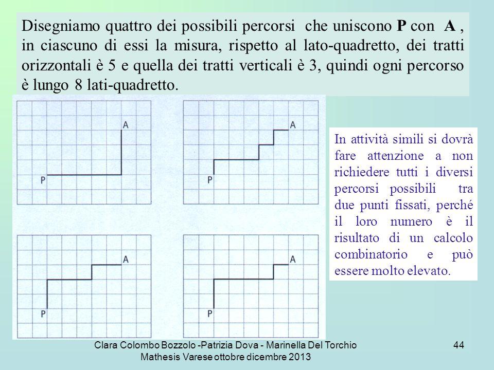 Disegniamo quattro dei possibili percorsi che uniscono P con A , in ciascuno di essi la misura, rispetto al lato-quadretto, dei tratti orizzontali è 5 e quella dei tratti verticali è 3, quindi ogni percorso è lungo 8 lati-quadretto.