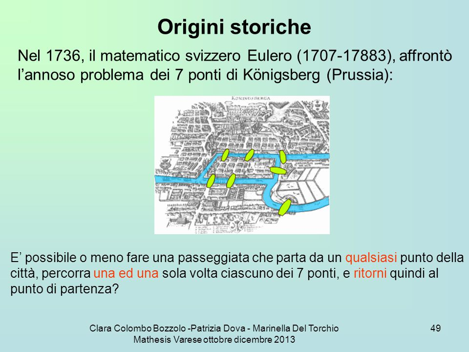 Origini storiche Nel 1736, il matematico svizzero Eulero (1707-17883), affrontò l'annoso problema dei 7 ponti di Königsberg (Prussia):