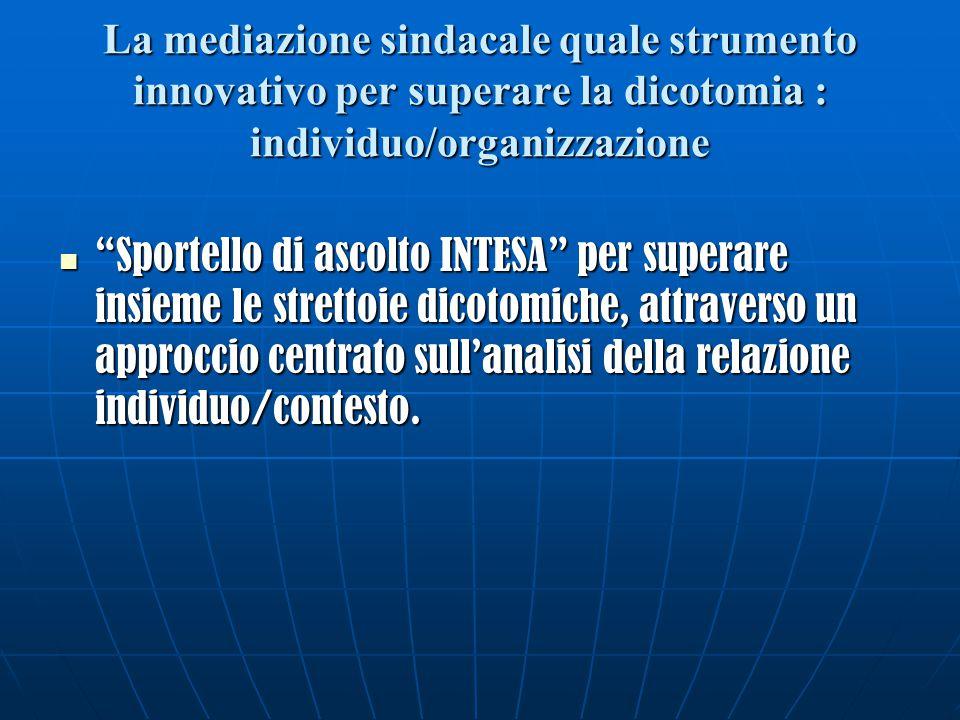 La mediazione sindacale quale strumento innovativo per superare la dicotomia : individuo/organizzazione