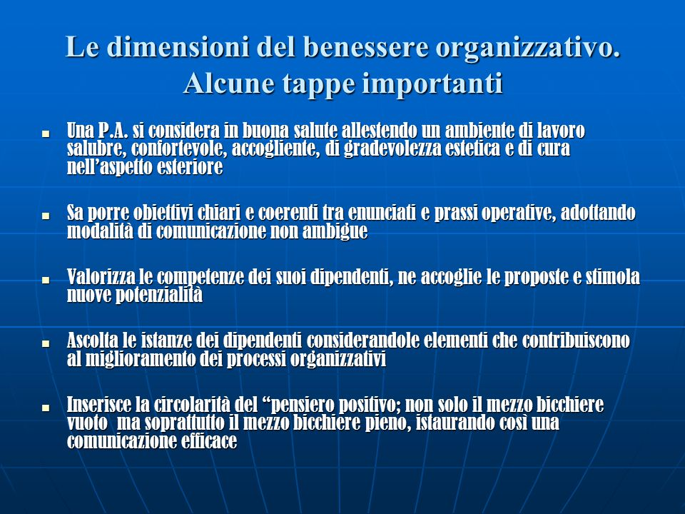 Le dimensioni del benessere organizzativo. Alcune tappe importanti