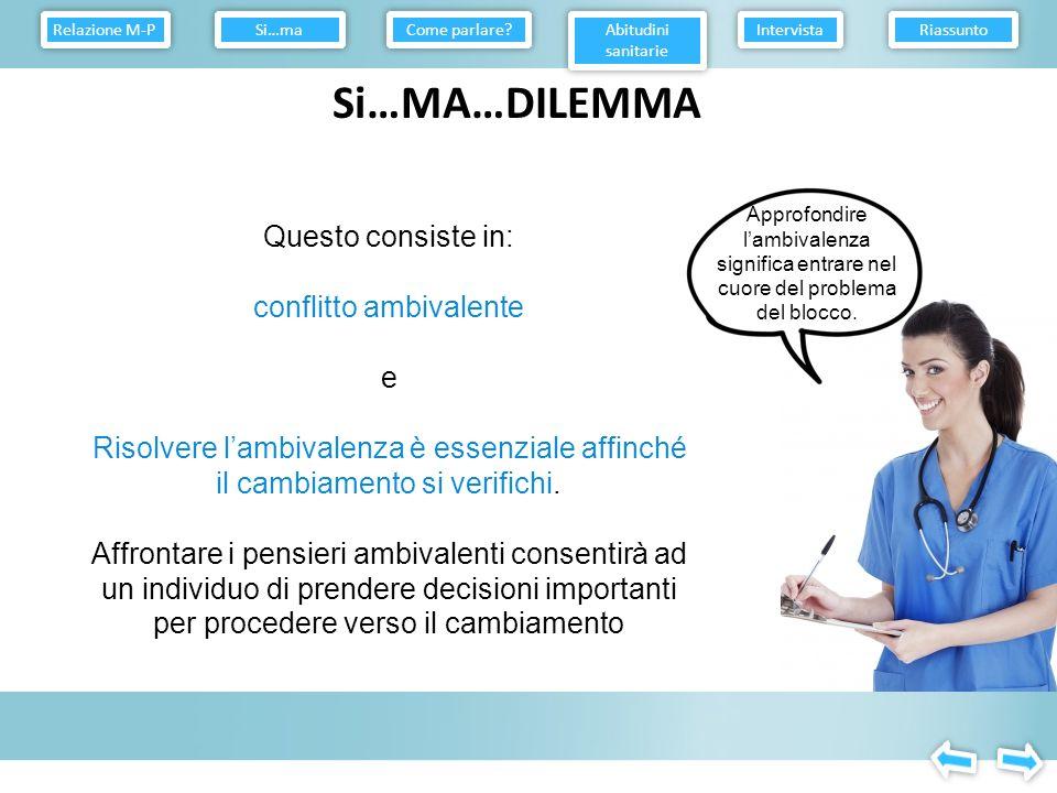 Relazione M-P Come parlare Abitudini sanitarie. Intervista. Riassunto. Si…ma. Si…MA…DILEMMA.