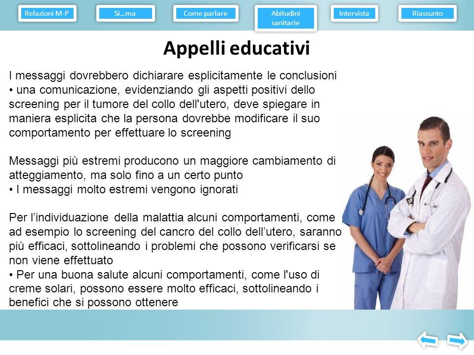 Relazioni M-P Come parlare. Abitudini sanitarie. Intervista. Riassunto. Si…ma. Appelli educativi.
