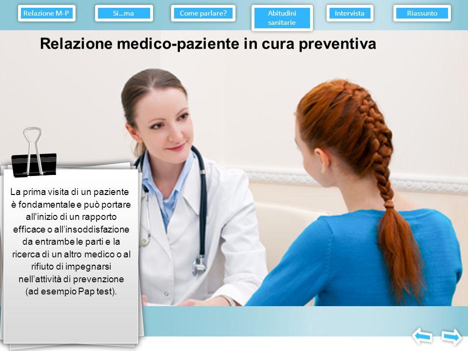 Relazione medico-paziente in cura preventiva