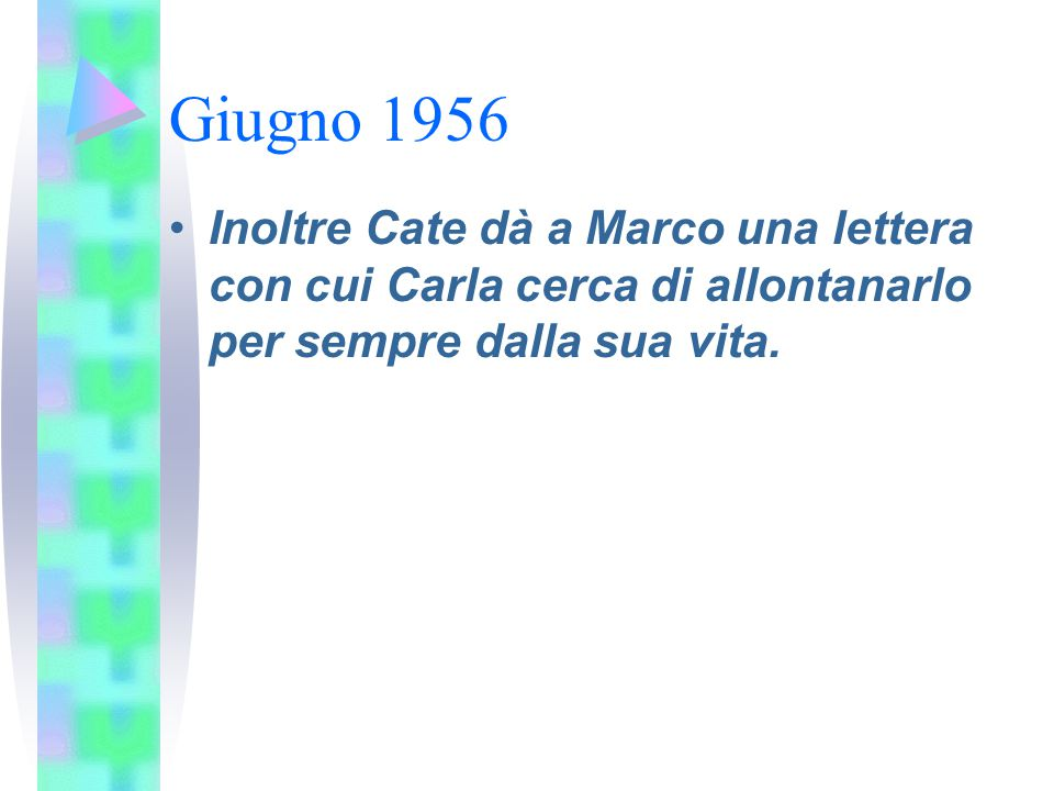 Giugno 1956 Inoltre Cate dà a Marco una lettera con cui Carla cerca di allontanarlo per sempre dalla sua vita.