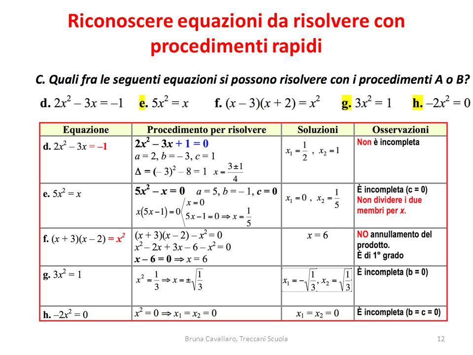 Riconoscere equazioni da risolvere con procedimenti rapidi