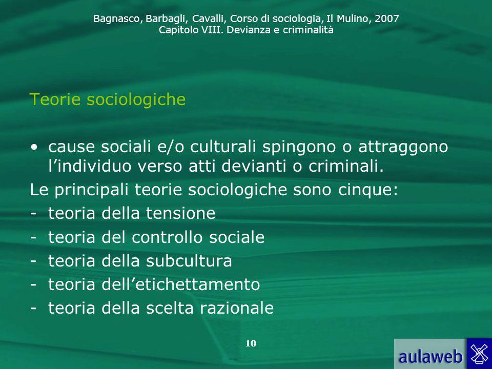 Teorie sociologiche cause sociali e/o culturali spingono o attraggono l'individuo verso atti devianti o criminali.