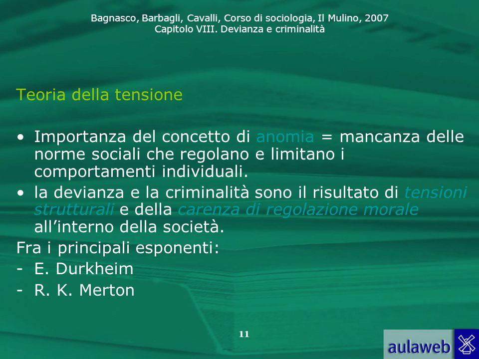 Teoria della tensione Importanza del concetto di anomia = mancanza delle norme sociali che regolano e limitano i comportamenti individuali.