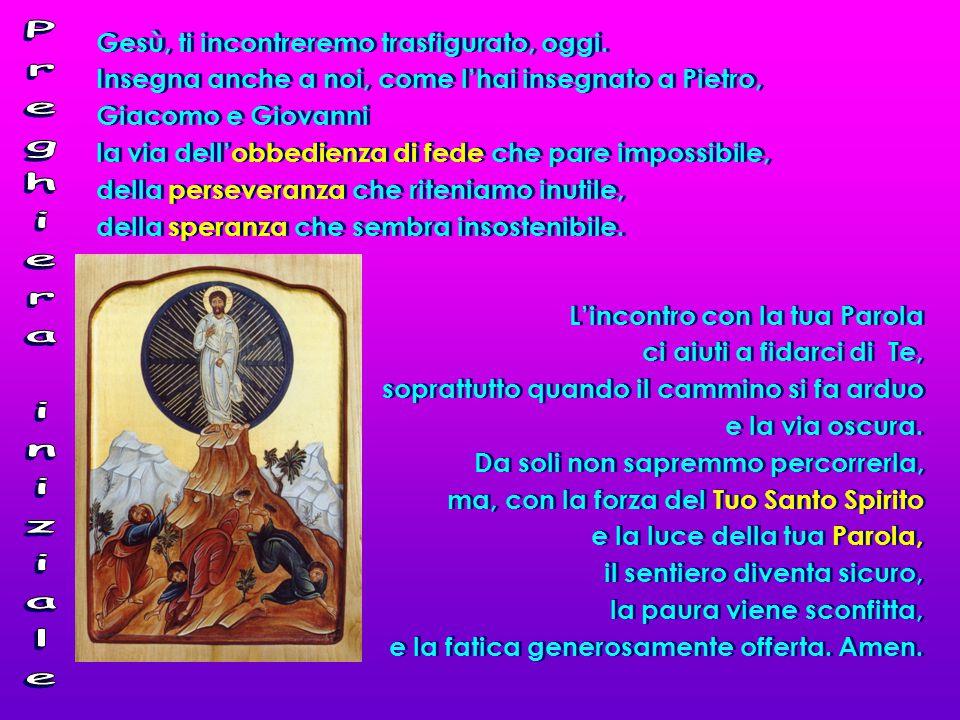 Preghiera iniziale Gesù, ti incontreremo trasfigurato, oggi.