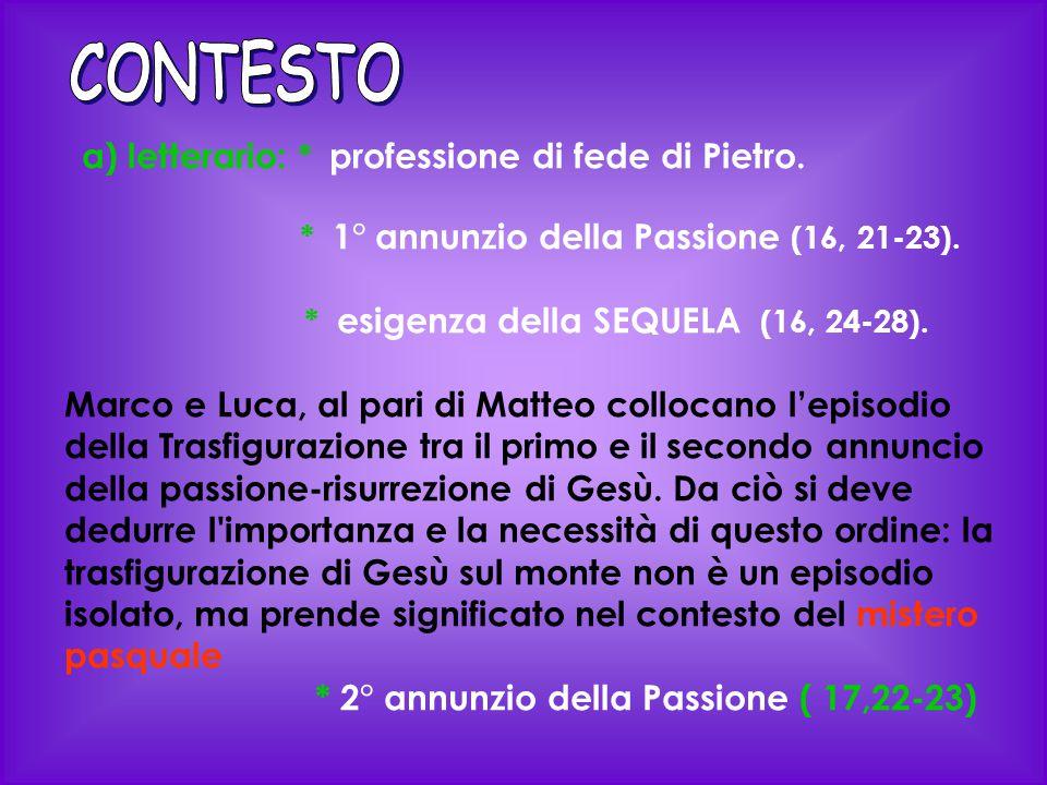 CONTESTO a) letterario: * professione di fede di Pietro.