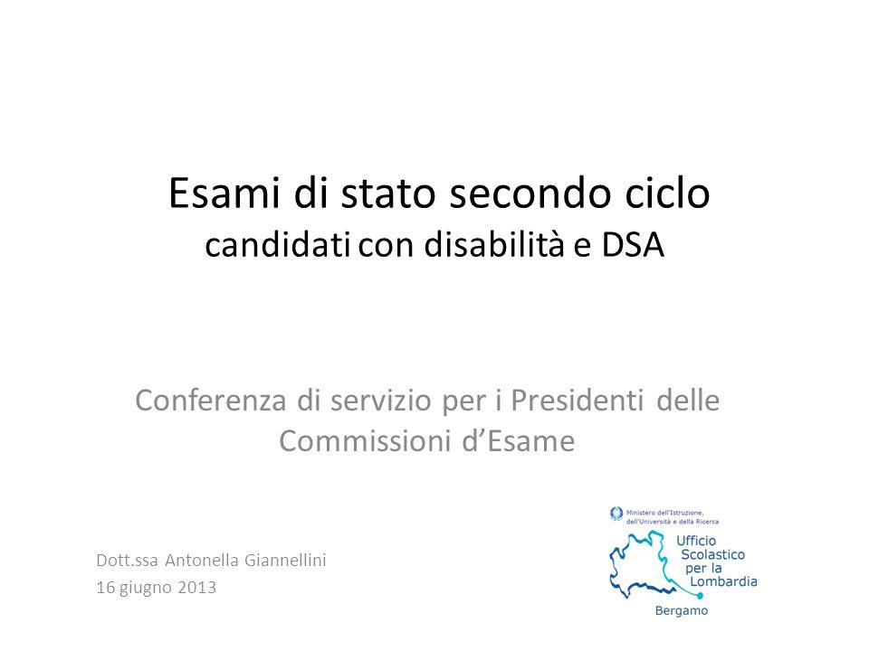 Esami di stato secondo ciclo candidati con disabilità e DSA