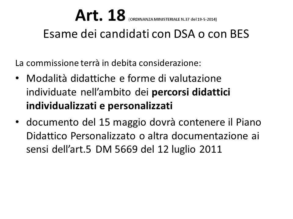 Art. 18 (ORDINANZA MINISTERIALE N