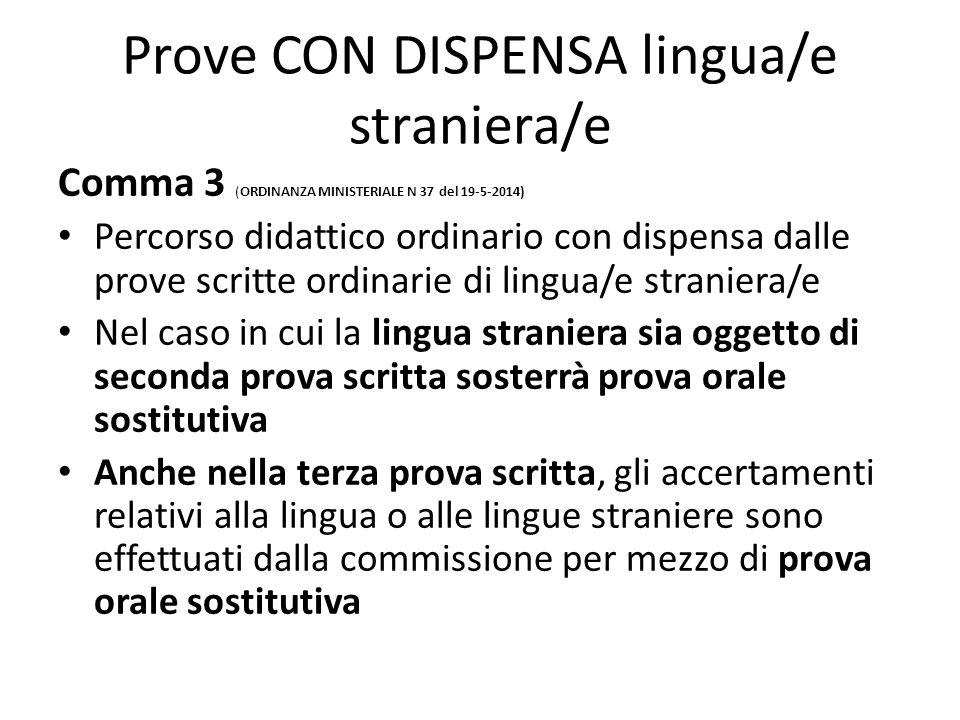 Prove CON DISPENSA lingua/e straniera/e