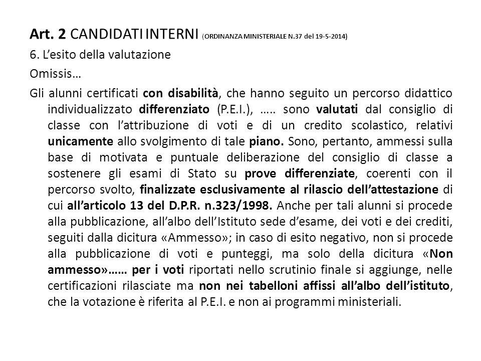 Art. 2 CANDIDATI INTERNI (ORDINANZA MINISTERIALE N.37 del 19-5-2014)