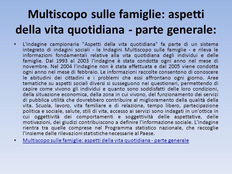 Multiscopo sulle famiglie: aspetti della vita quotidiana - parte generale: