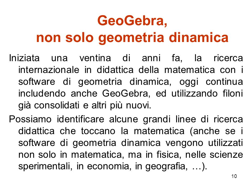 GeoGebra, non solo geometria dinamica