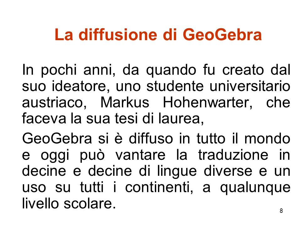 La diffusione di GeoGebra