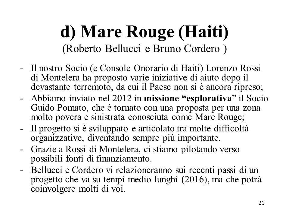 d) Mare Rouge (Haiti) (Roberto Bellucci e Bruno Cordero )