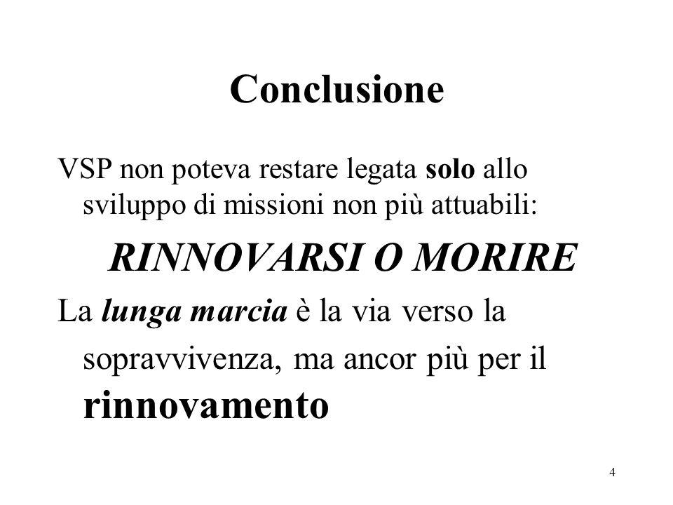 Conclusione RINNOVARSI O MORIRE